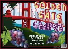Vintage Can & Fruit Crate Labels - Golden Gate Grapes