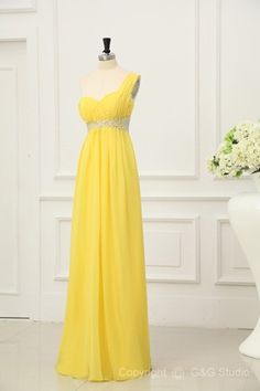 Floor-length Zipper Sleeveless Empire One Shoulder Long Formal Dresses