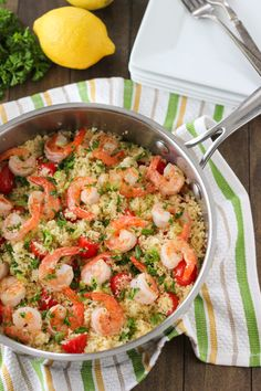 I love shrimp and I love couscous but I never thought putting them together.I love shrimp and I love couscous but I never thought putting them together. I Love Food, Good Food, Yummy Food, Tasty, Shrimp Recipes, Fish Recipes, Shrimp Couscous, Couscous Salad, Shrimp With Couscous Recipe
