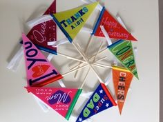 To cheer someone up or cheer someone on -- these colorful felt mini-pennants are just the thing. Old fashioned feel with a modern twist.  Perfect party decorations.