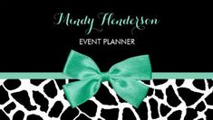 Event Planner Pretty Giraffe Print Mint Green Bow Business Cards http://www.zazzle.com/event_planner_pretty_giraffe_print_mint_green_bow_double_sided_standard_business_cards_pack_of_100-240745114697282889?rf=238835258815790439&tc=GBCEvents2PIn