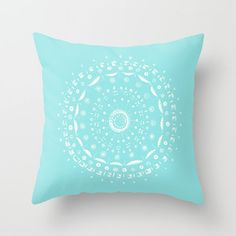 Light Blue Mandala Throw Pillow Cover blue mandala by lake1221