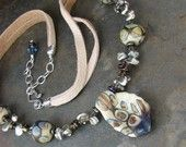 Raku Lampwork & Pearl Necklace from the Celebrate Mom Collection