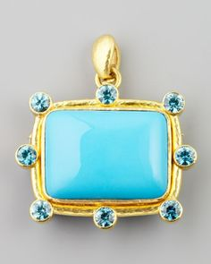 Turquoise Cushion Brooch/Pendant by Elizabeth Locke at Neiman Marcus.