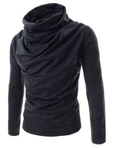 TheLees Slim Fit Turtle Neck Ruffle Long Sleeve Tshirts | Amazon.com