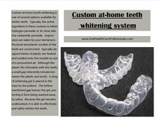 Custom at-home #tooth #whitening: A custom at-home tooth whitening is one of several options available for whiter #teeth. Typically, the active ingredient in these systems is either #hydrogen peroxide or its close relative #carbamide #peroxide.