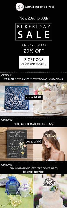 wedding invitations Black Friday sale on @elegantwinvites