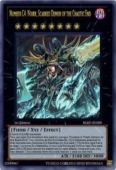 YugiCo.com Price Guide | Yu-Gi-Oh! Cards | Senji Kiyomasa Created Cards Chaotic End BLED-EN000 Number C4: Noirr, Scarred Demon of the Chaotic End  custom-made YuGiOh card