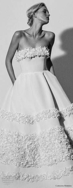 carolina herrera spring 2018 bridal strapless straight across neckling simple romantic ball gown a  line wedding dress with pockets (03) zv -- Carolina Herrera Bridal Spring 2018 Wedding Dresses