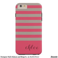 Designer Style Salmon and Beige Stripes Tough iPhone 6 Plus Case
