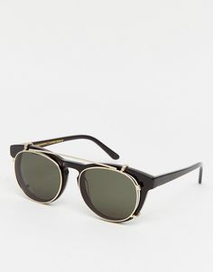 8bd4fbfa857 Han Kjobenhavn Timeless Clip-On Round Sunglasses In Black Clip On Sunglasses