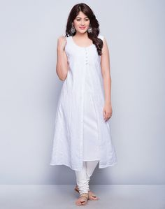 Cotton Piece SetDobby WeaveChikankariEmpireline StyleU NeckSleevelessHand Wash Separately in Cold Water Churidar Designs, Kurta Designs Women, Blouse Designs, Casual Formal Dresses, Stylish Dresses, Fashion Dresses, Indian Designer Outfits, Designer Dresses, Pakistani Dresses