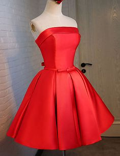 Cocktail Party Dress Ball Gown Strapless Knee-length Satin / Stretch Satin with Sash / Ribbon / Bandage 4991469 2016 – $69.99