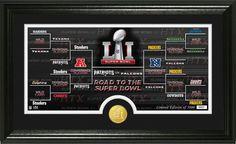 Road to Super Bowl 51 Panoramic Bronze Coin. Photo Mint. #Patriots #Falcons #SuperBowl51 #LI