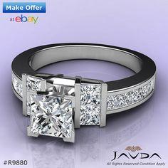 Brilliant Princess Diamond Shining Engagement Ring GIA G SI1 14k White Gold 2 ct