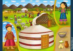 Praatplaat Mongolië voor kleuters, kleuteridee.nl, free printable.