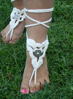 FREE SHIPPING - Lace Sandals - Gypsy Shoes- Crocheted Barefoot Sandals - Beach Sandals - Wedding- Feet Decor - Vintage - Celtic. $15.00, via Etsy.
