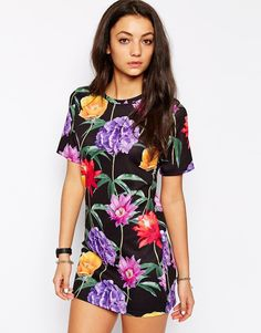Jaded London Wallpaper Floral Dress