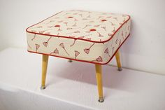 Stool - Bells in Deep Red by Fleur & Stallard. Beautifully refurbished and reupholstered recycled vintage stool. Hand screen-printed fabrics printing onto organic cotton/hemp blend fabrics using water based inks.