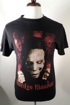 2000 Mens Size M Marilyn Manson T Shirt, Slightly Worn Graphics, Black