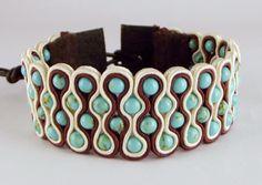 Armbanden - Trendy Soutache cuff armband met Turquoise - Een uniek product van Unycq op DaWanda