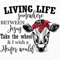Living life somewhere between Jesus take the wheel & I wish a Heifer would - Digital instant Downloa Cow Wallpaper, Cow Quotes, Country Backgrounds, Wife Humor, Chicken Humor, Cow Art, Printing Ink, Cricut Tutorials, I Love To Laugh