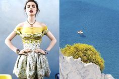 Match #160 Tali Lennox byDavid Slijperfor Vanity Fair SpainJanuary 2013 wearing Christian Dior Haute Couture | View from Lipari, Aeolian Islands in Sicily, Italy photographed by Giuseppe Finocchiaro More matches here