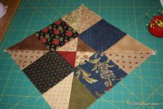 From a simple 9-patch cut on the diagonal from corner to corner - this would be a quick and easy charity quilt method.