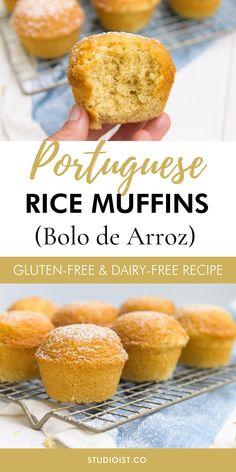 Dairy Free Rice Recipes, Corn Flour Recipes, Peanut Recipes, Allergy Free Recipes, Gluten Free Rice Bread Recipe, Rice Muffins Recipe, Recipes Using Rice Flour, Portuguese Rice, Portuguese Desserts