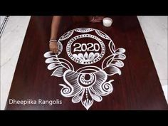 New Year 2020 Special Rangoli Design // Sankranthi Muggulu //Dheepiika Rangolis Best Rangoli Design, Rangoli Designs Flower, Free Hand Rangoli Design, Rangoli Border Designs, Rangoli Ideas, Rangoli Designs With Dots, Rangoli Designs Images, Beautiful Rangoli Designs, Mehndi Designs For Hands