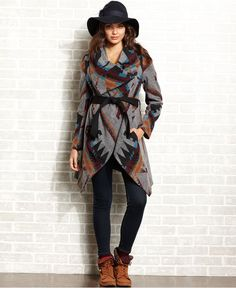American Rag Juniors Coat, Belted Navajo-Print Blanket - Juniors Sweaters - Macy's