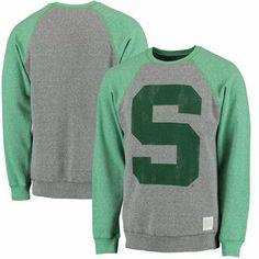 Michigan State Spartans Original Retro Brand Vintage Color Block Tri-Blend Sweatshirt - Heathered Gray