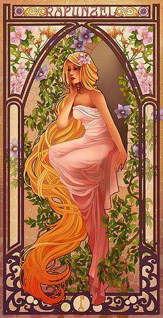 Art Nouveau Disney Princesses Re-Imagined Rapunzel. Disney Fan Art, Disney Princess Art, Disney Love, Disney Magic, Art Nouveau Disney, Disney Rapunzel, Rapunzel Story, Tangled Rapunzel, Disney And Dreamworks
