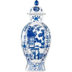 Blue and White Chinese Hexagonal Ginger Jar , Ceramic - OD, The Pink Pagoda - 1