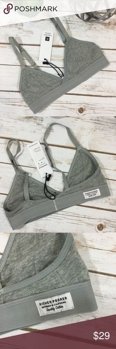 Sold out online! NWT Richer Poorer Bralette Super soft sold out on their website new with tags Richer Poorer bralette size Small. See photos for measurements. Adjustable straps. Elastic bottom. Offers welcome. Thanks for shopping my closet! Richer Poorer Intimates & Sleepwear Bras