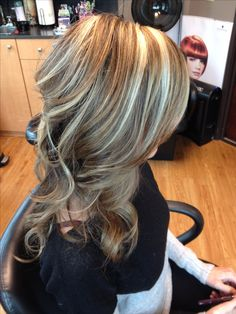 Light brown hair with blonde highlights and curls