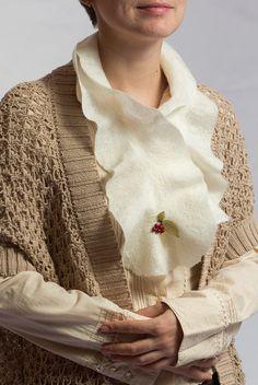 Warm winter felted scarf ruffle