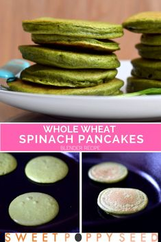 Sweet, soft and lovely green Whole Wheat Spinach Pancakes made entirely in the blender. A healthy recipe easy enough for kids to make and love! Easy Healthy Recipes, Low Carb Recipes, New Recipes, Real Food Recipes, Easy Meals, Fall Recipes, Delicious Recipes, Vegetarian Recipes, Healthy Treats