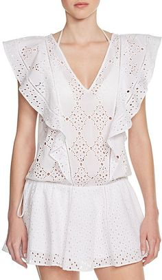 White eyelet beach cover up. Parker Beach Antigua Swim Cover Up