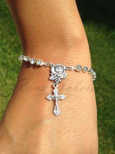 Rhinestone & Silver Rose Cross Crucifix Rosary Bracelet w/Swarovski Elements