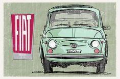 Fiat 500 Car, Fiat 850, Fiat Cinquecento, Fiat Abarth, Fiat 500 Lounge, Car Illustration, Small Cars, Vintage Advertisements, Framed Wall