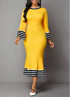 Cocktail Party Dress Back Zipper Flare Cuff Stripe Print Mermaid Dress Latest African Fashion Dresses, African Dresses For Women, Women's Fashion Dresses, Casual Dresses, Dresses Dresses, Trendy Dresses, Cheap Dresses, Party Dresses, Look Plus Size