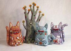 Paper Clay, Clay Art, Paper Art, Ceramic Monsters, Ceramic Animals, Art Corner, Creation Couture, Cute Monsters, Ceramic Clay