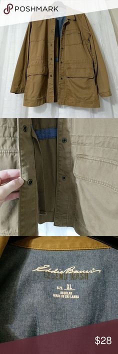 Eddie Bauer Legend Wash XL Jacket EUC! My mom lost weight and so it doesn't fit! She only wore it a few times. Very comfortable, great for layering. Cute camel color. There are ties on the inside if you want a cinched waist look. I thought I saw a few spots (see sixth picture), but are hardly noticeable. Last two pictures show actual color best. Eddie Bauer Jackets & Coats