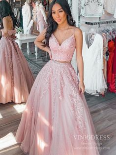 Sparkly Two Piece Prom Dress Rose Pink Lace Long Prom Dresses FD2392 – Viniodress