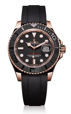 """ROLEX Yacht-Master 116655 Watch In Everose Gold With Black Ceramic Bezel For 2015 - by Ariel Adams - see more now on aBlogtoWatch.com """"New for 2015, Rolex has debuted a very attractive and sporty new version of the Rolex Yacht-Master that now comes on a new type of strap called Rolex Oysterflex. More on that in a second. This reference 116655 Yacht-Master is 40mm wide but there will also be the 37mm wide ref. 268655 Yacht-Master. Unlike the traditional Yacht-Master that has been known for…"""