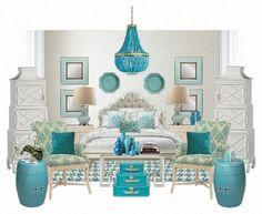 Tiffany blue & white bedroom ideas.. just needs more black! :). For alyssa.