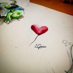 Heart ballon ❤️ • Watercolor tattoo #draw #tattoo #tatuagem #heart #ballon #lcjunior #watercolor #aquarela #art #arte