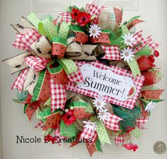 Spring Wreaths Summer Wreaths Front Door by NicoleDCreations