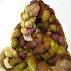 Crazed Jonquil: roving, merino silk combed top via Etsy.